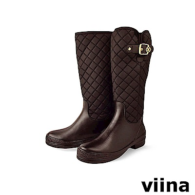 viina 菱格彈性紋側扣高筒雨靴-咖啡色