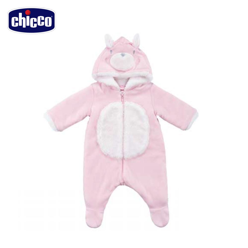 chicco小天鵝舖毛連帽長袖兔裝-粉(3個月-12個月)