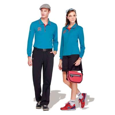 【Londa Polo】吸濕排汗中性版長袖POLO衫(P77662)藍