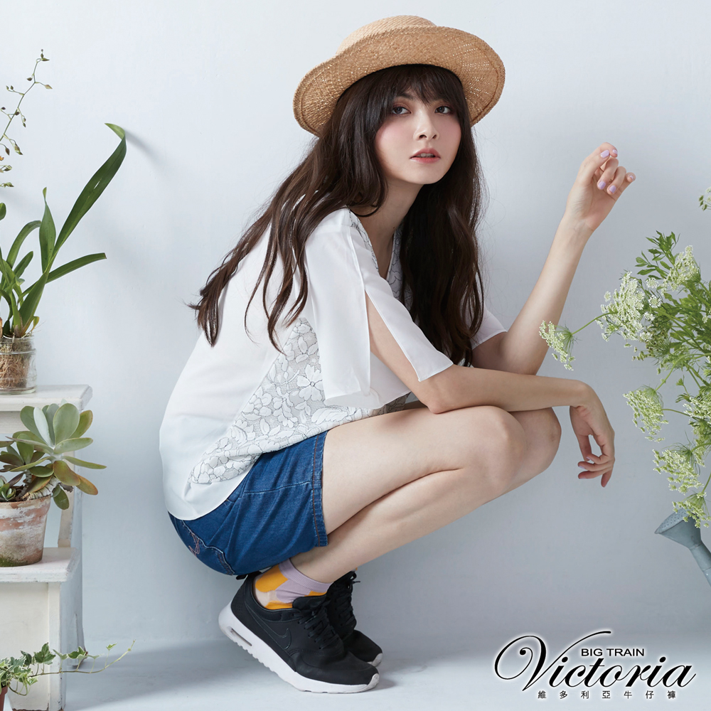 Victoria 中高腰天絲棉男友短褲-女-深藍