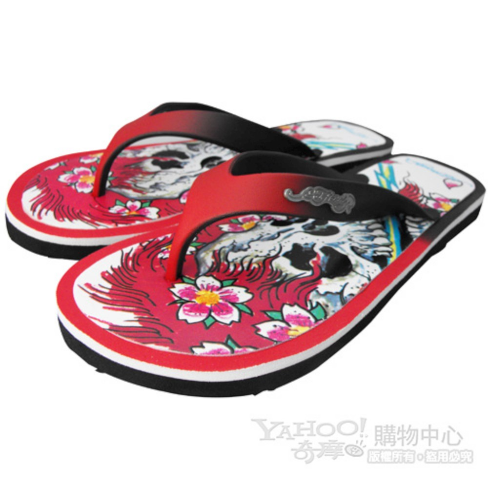 【ED Hardy】流花骷髏女海灘涼鞋-紅
