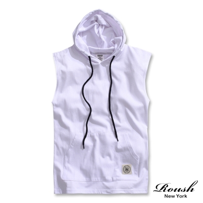 ROUSH-簡約設計棉質連帽背心-3色