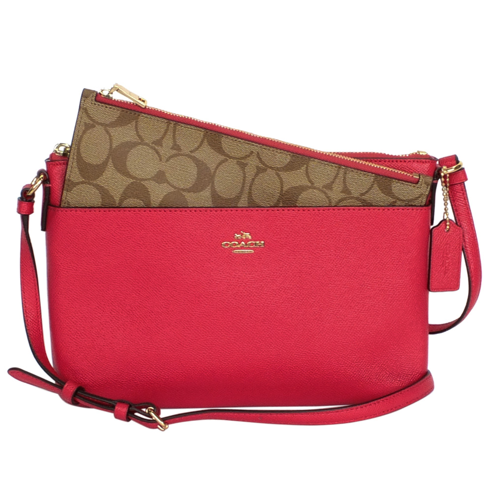 COACH莓紅壓紋全皮搭C Logo收納袋方扁斜背包