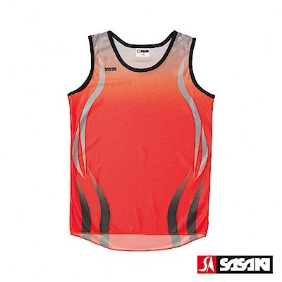 SASAKI-吸濕排汗田徑背心-女-紅-銀灰