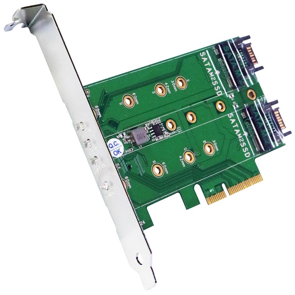 伽利略 PCI-E 4X M.2(PCI-E 1埠+SATA2埠) SSD 轉接卡