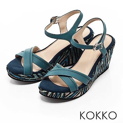 KOKKO -  迷情島嶼交叉線條印花楔型涼鞋- 霧籃綠