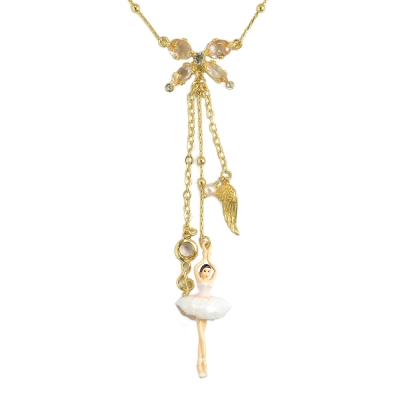 Les Nereides 優雅芭蕾舞女孩系列 雪白色女孩音符羽毛蝴蝶結項鍊
