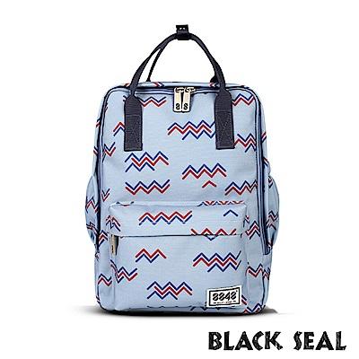 BLACK SEAL 聯名8848系列-多隔層休閒小方型後背包-淺藍BS83008