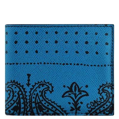 COACH-藍色印花圖樣PVC雙摺中夾-附可拆名片