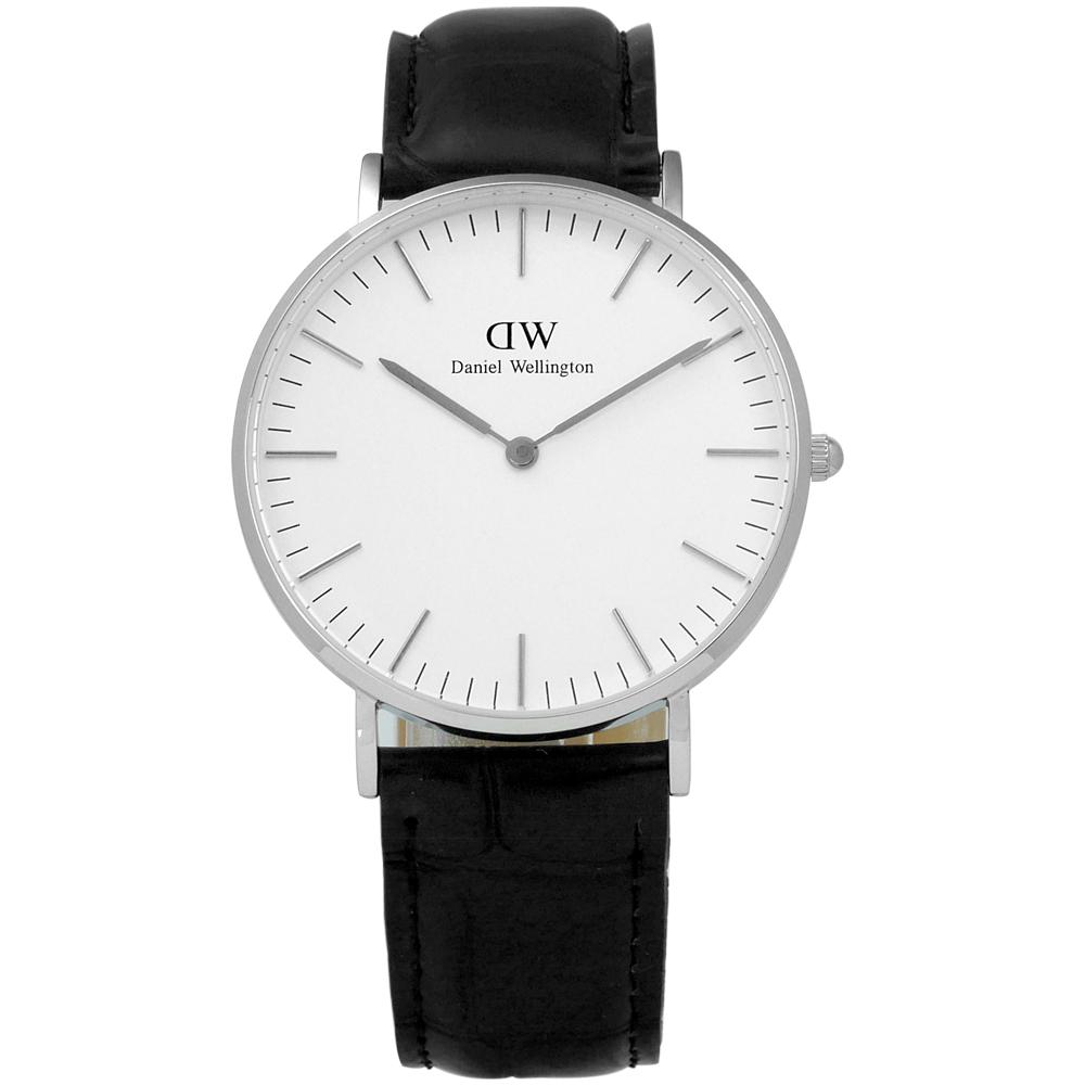 DW Daniel Wellington Classic鱷魚紋真皮手錶-白x黑/36mm