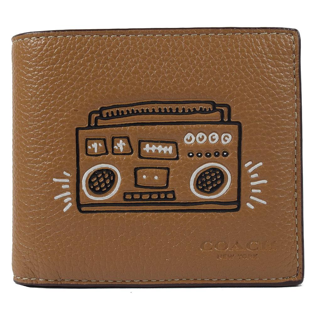COACH Keith Haring收音機牛皮附活動夾八卡短夾(深咖)