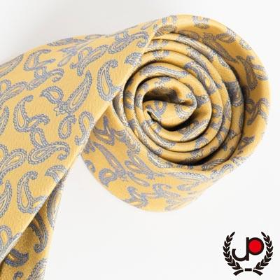 極品西服-義大利Teflon防潑水領帶-黃底變形蟲