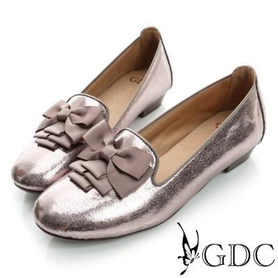 GDC復古-蝴蝶亮片樂福真皮低跟鞋-槍灰色