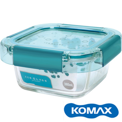 KOMAX 冰鑽方形強化玻璃保鮮盒 綠 380ml