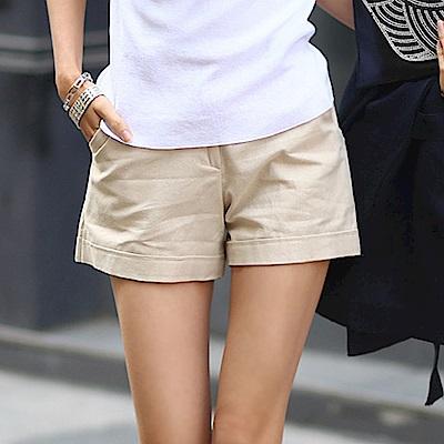 正韓 純色棉麻縫摺寬管短褲 (共二色)-N.C21