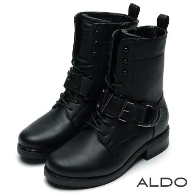 ALDO REAL LOVE黑色釦帶粗跟拉鍊短靴~尊爵黑色