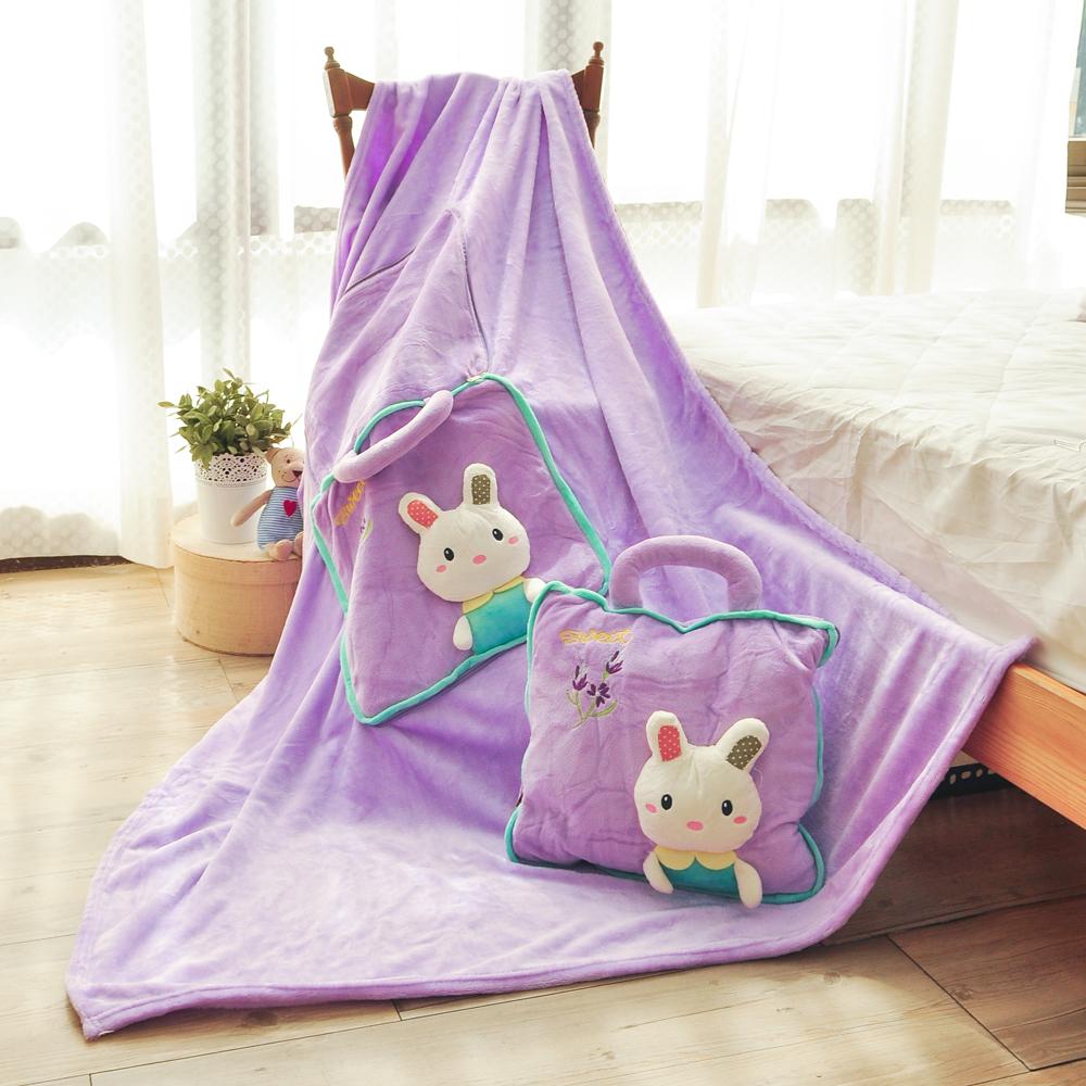 亞曼達Amanda 立體卡通兩用法萊絨抱枕毯子-優雅兔