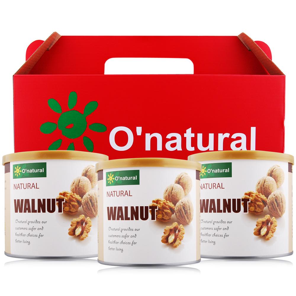 O-natural歐納丘 純天然美國加州特級核桃禮盒150gX3