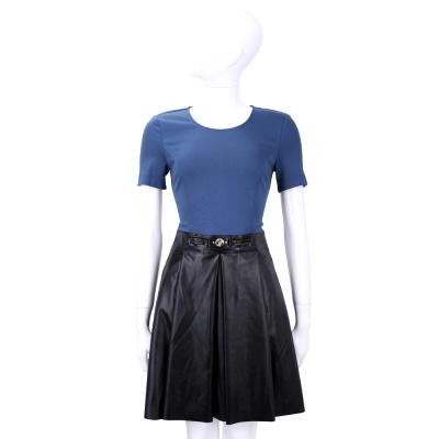 VERSACE 藍x黑色拼接仿皮褶裙短袖洋裝