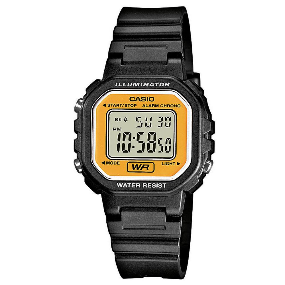 CASIO 黑色炫風方形電子小錶(LA-20WH-9A)-黃面/30.4mm
