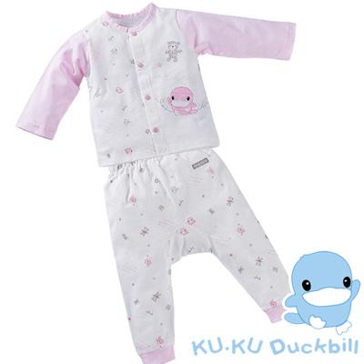 【KU.KU酷咕鴨】夏樂印花長袖套裝/春夏薄款-粉