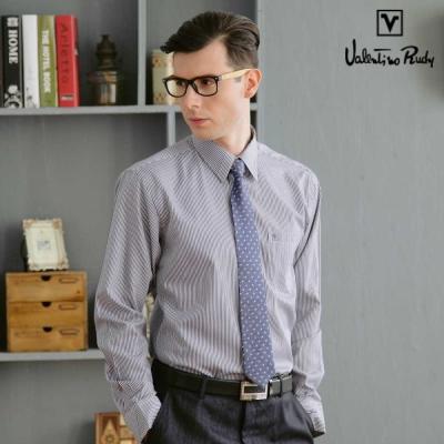 Valentino-Rudy范倫鐵諾-路迪-長袖襯衫-深藍直條-暗釘釦