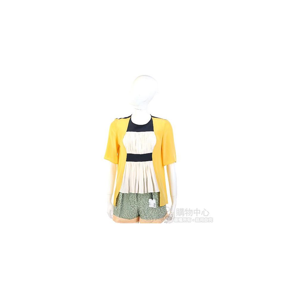 San Andres 拼接抓褶短袖上衣(黃色)