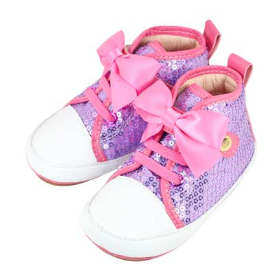 Swan天鵝童鞋-蝴蝶結亮片高筒休閒學步鞋1521-紫