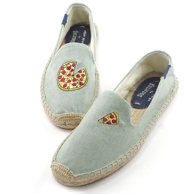 SOLUDOS刺繡款不對稱披薩草編懶人鞋(版型偏小)