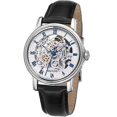 epos 極致完美全鏤空機械皮帶腕錶-白/33mm