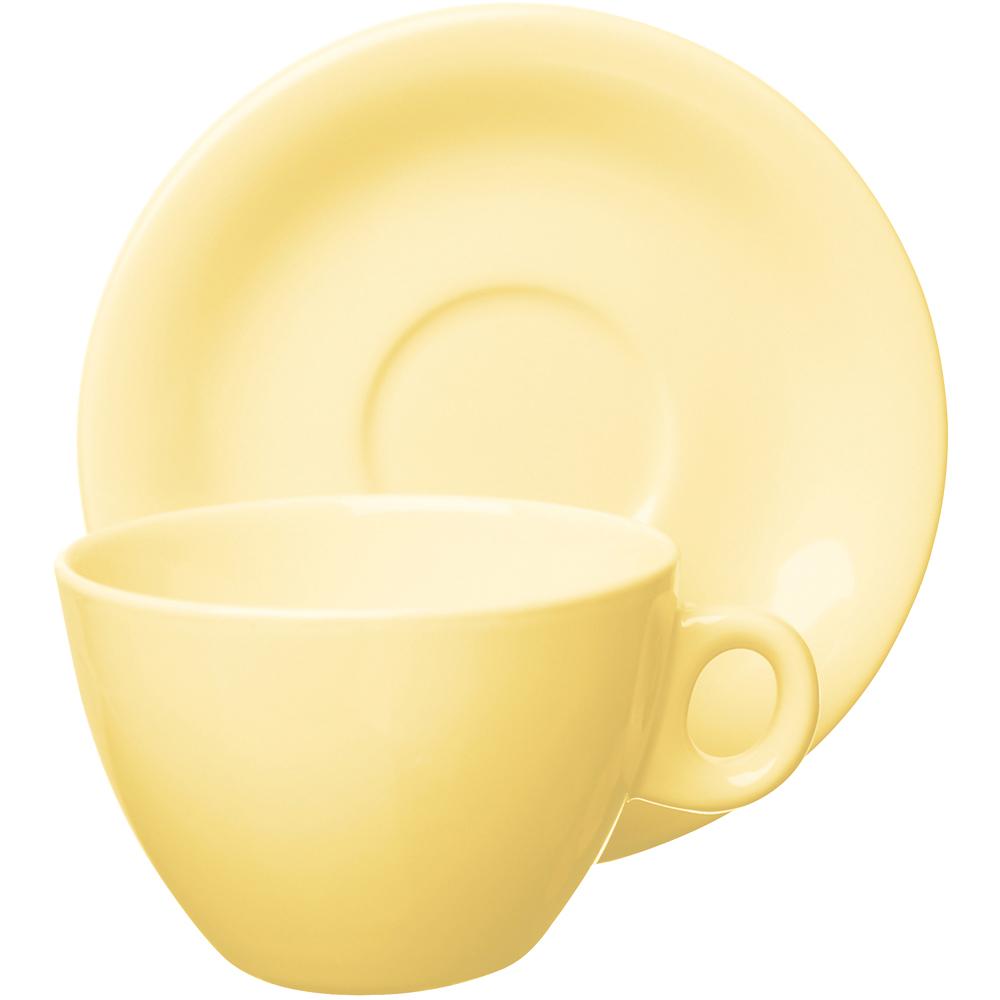 EXCELSA Trendy陶製咖啡杯碟組(奶油黃220ml)