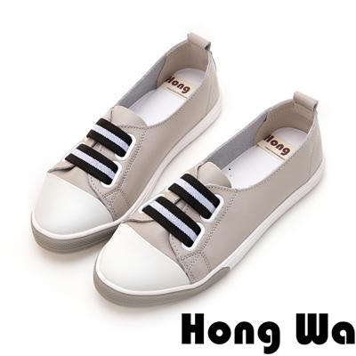 Hong Wa 休閒運動風牛皮綁帶便鞋 - 灰