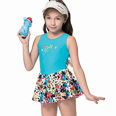 聖手牌兒童泳裝潑墨連身裙女童泳裝