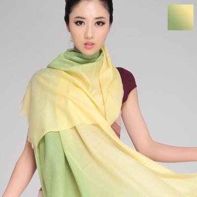 Seoul Show 漸變撞色100%純羊毛80支圍巾披肩8色  鵝黃淺綠漸變