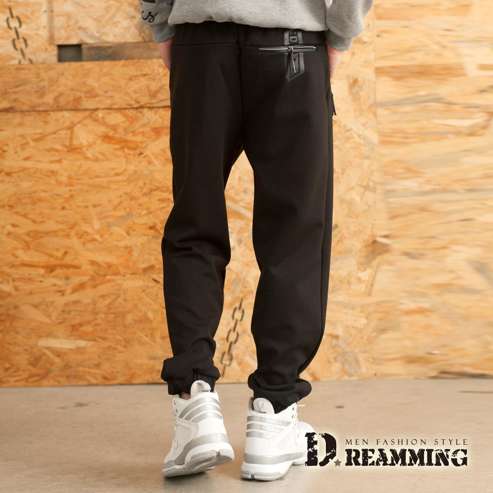 Dreamming 優選質感彈力太空棉縮口休閒運動長褲-黑色