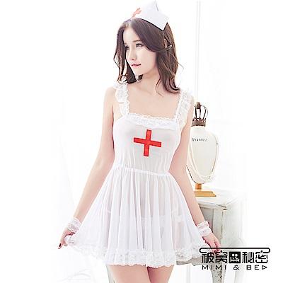 角色扮演服 白色天使4件式柔紗小護士 被窩的秘密