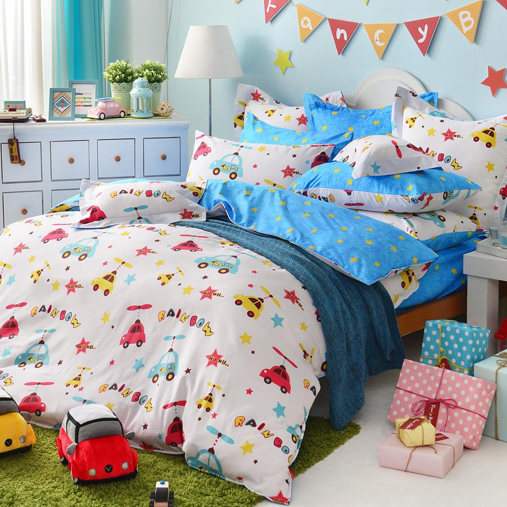 義大利Fancy Belle 夢想噗噗 雙人四件式防蹣抗菌舖棉兩用被床包組