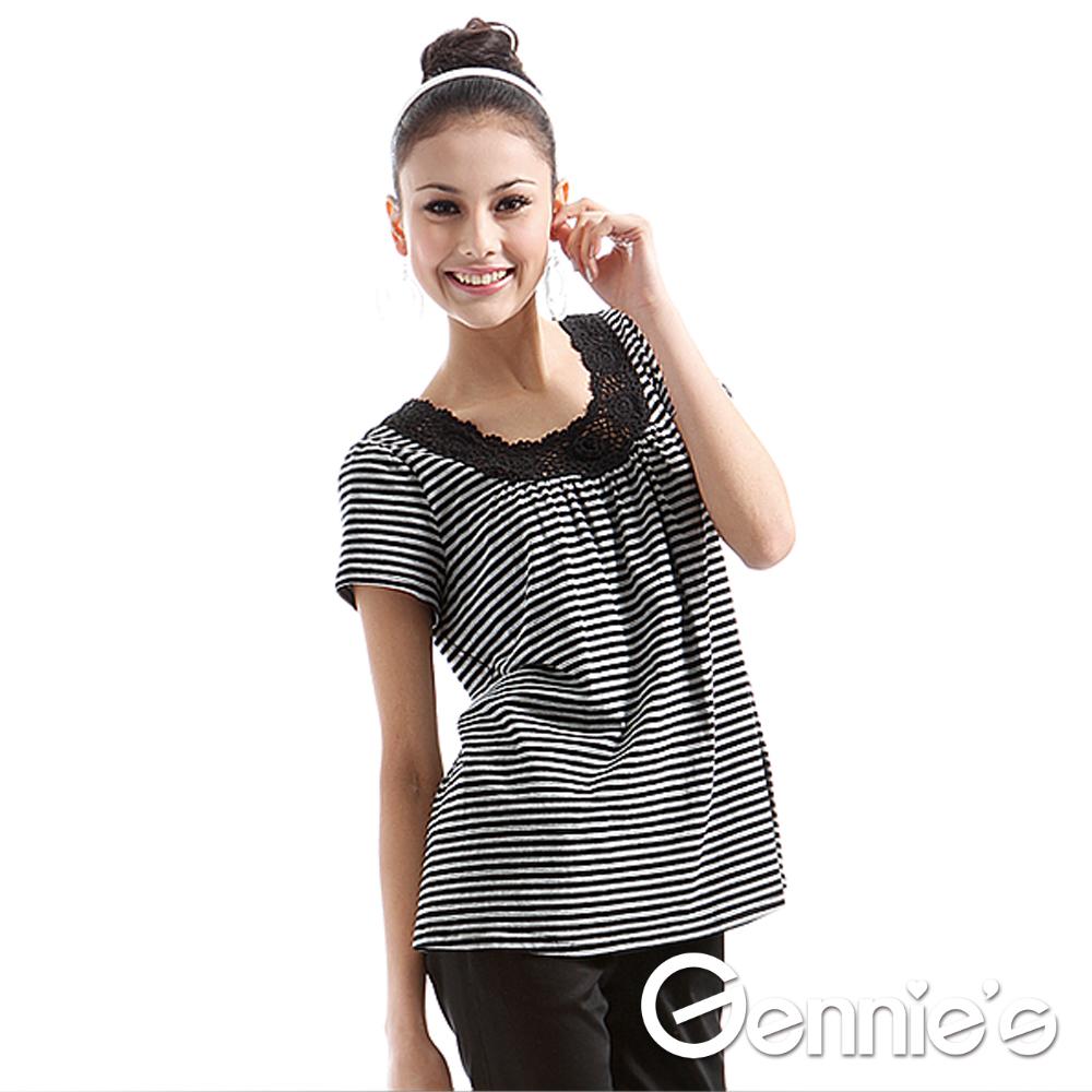 【Gennie's奇妮】簡約個性條紋春夏哺乳上衣-灰(GNA25)