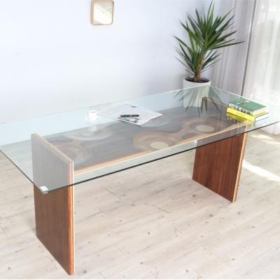 ROSA羅莎  盧卡極簡日系實木玻璃餐桌