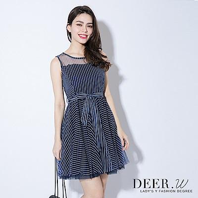 DEER.W 削肩鏤空條紋紗洋裝(共三色)