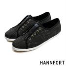 HANNFORT CALIFORNIA無綁帶氣墊帆布鞋-女-風格黑