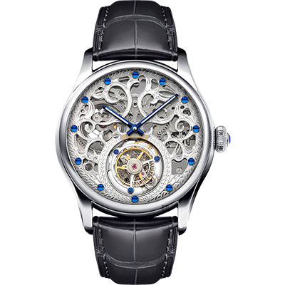 MEMORIGIN 萬希泉 吉祥系列陀飛輪腕錶-銀x黑/43mm