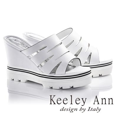 Keeley-Ann隨性鏤空造型真皮楔型涼拖鞋-白