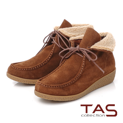 TAS 兩穿式毛絨翻領綁帶麂皮精靈短靴-榛果卡其