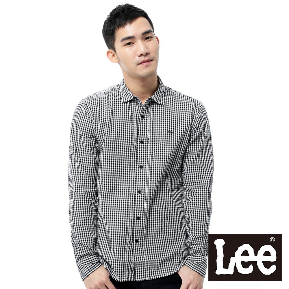 Lee 長袖襯衫 後下擺拼接包邊-男款(黑白格紋)