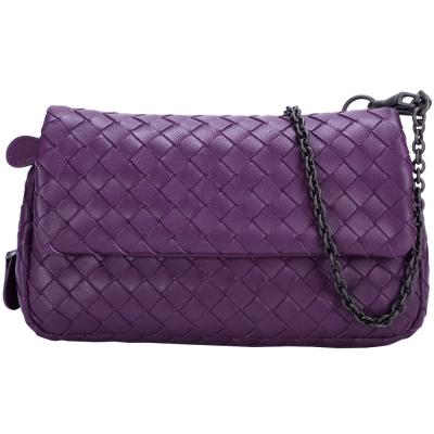 BOTTEGA VENETA NAPPA 小羊皮編織迷你鍊帶包(紫色)