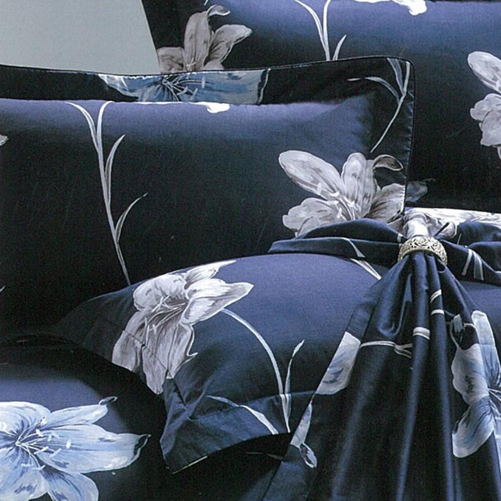 eyah宜雅 全程台灣製100%精梳純棉雙人加大床罩兩用被全舖棉五件組 香水百合-藍
