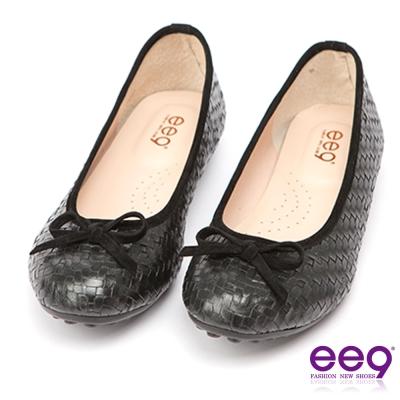 ee9 MIT經典手工~都會優雅網格編織蝴蝶結超輕豆豆娃娃鞋*黑色