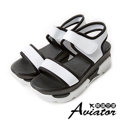 Aviator*韓國空運。正韓製顯瘦一字寬帶厚底魔鬼氈涼拖鞋-白