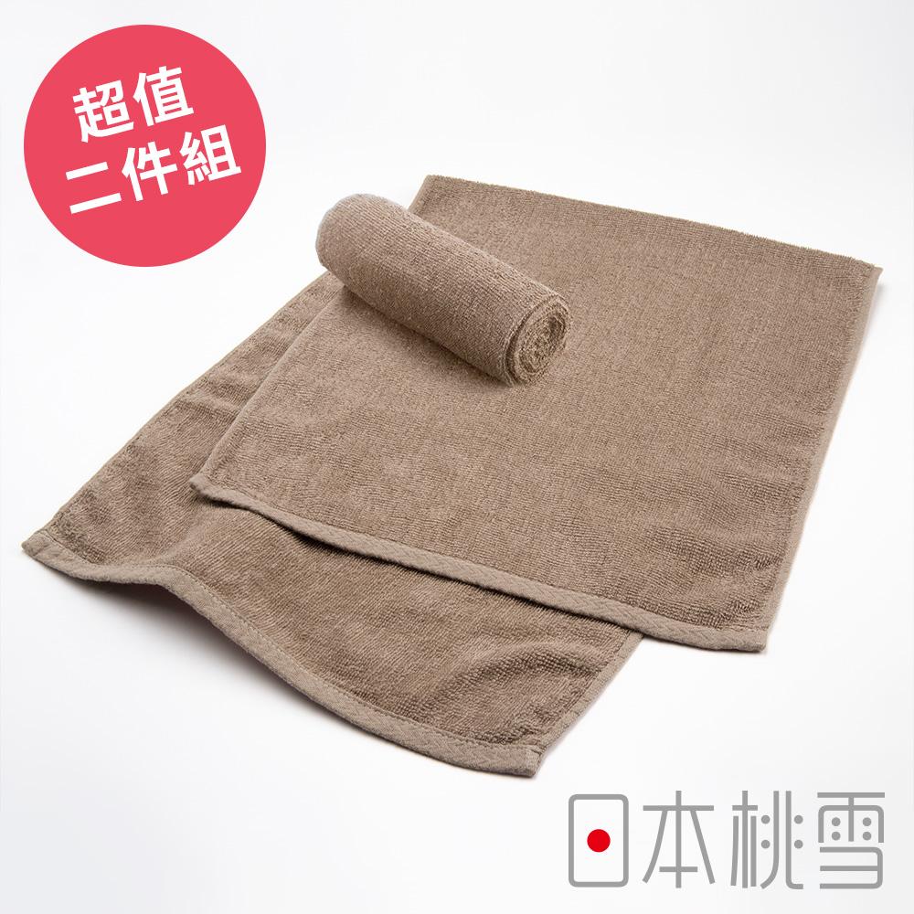 日本桃雪綁頭毛巾超值兩件組(淺咖啡色)